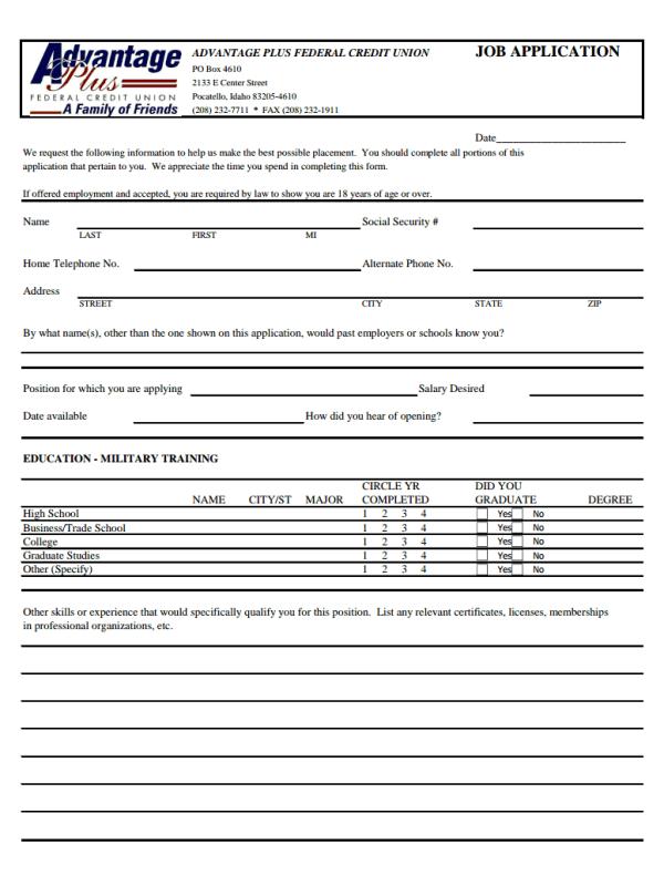 Advantage Plus Credit Union Job Application Form