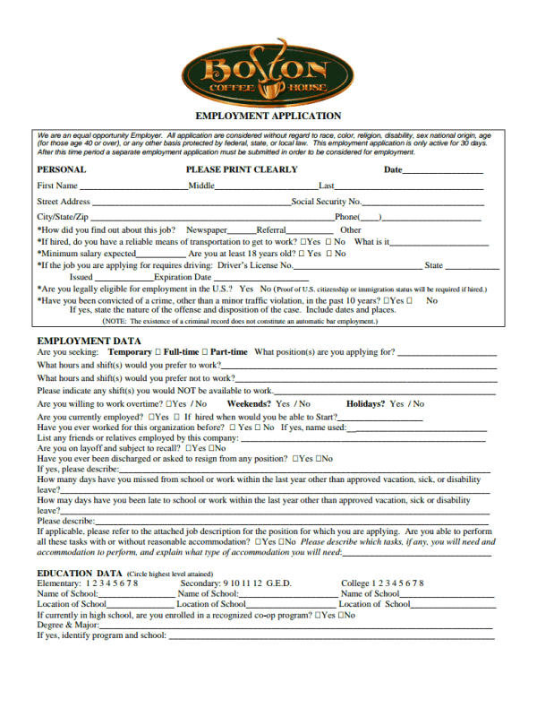 Boston Coffee House Job Application Form