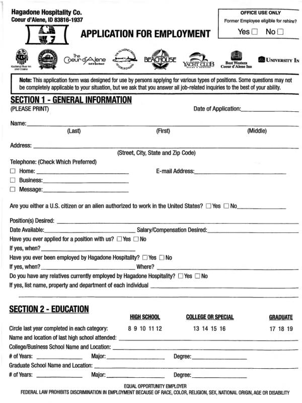 Coeur D'alene Resort Job Application Form