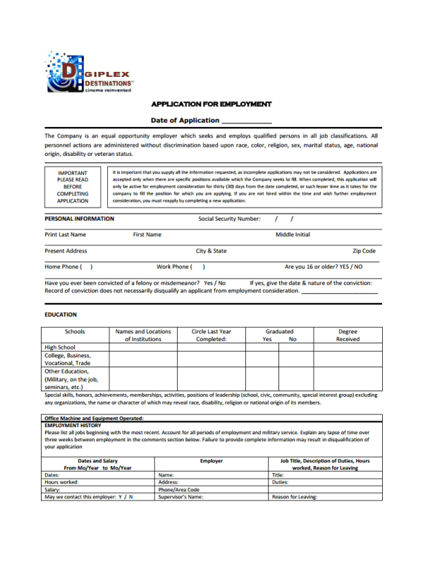 Digiplex Destinations Job Application Form