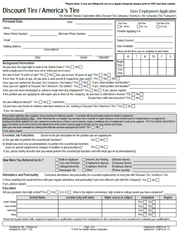 Discount Tire Job Application Form