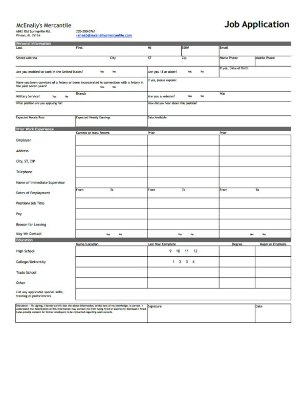 Mcenally's Mercantile Job Application Form