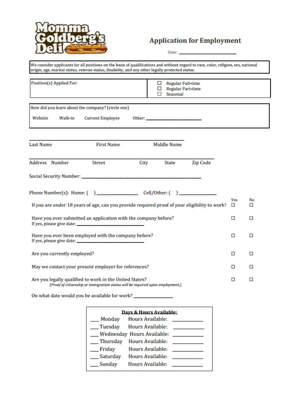 Momma Goldberg's Job Application Form