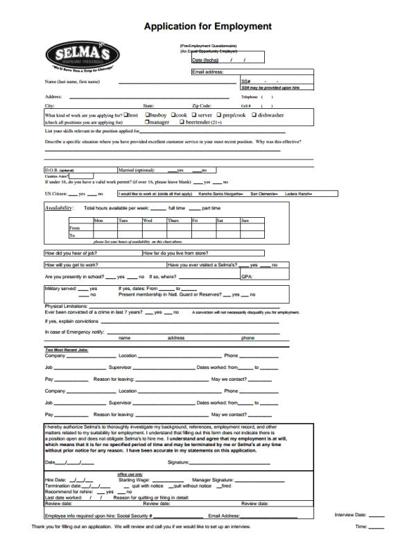 Selma's Chicago Pizzeria Job Application Form