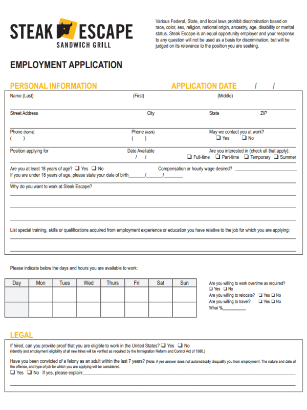 Steak Escape Job Application Form