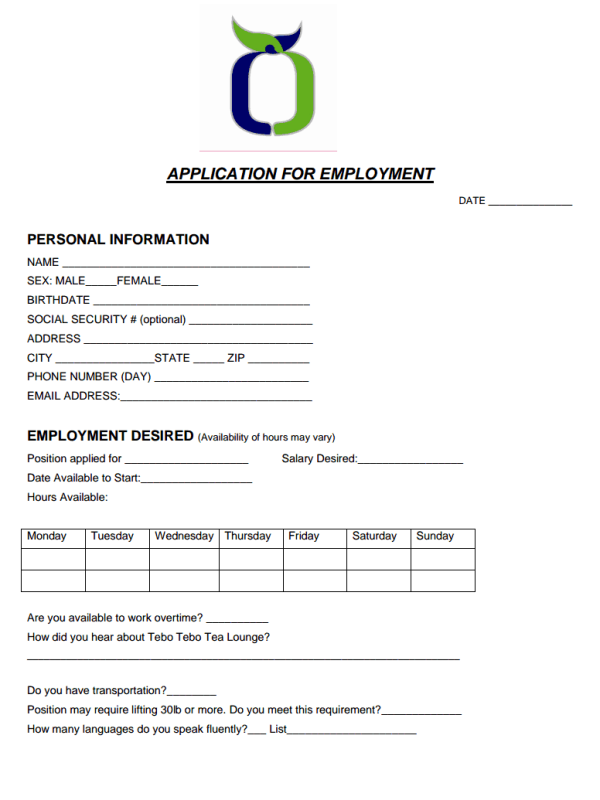 Tebo Tebo Job Application Form