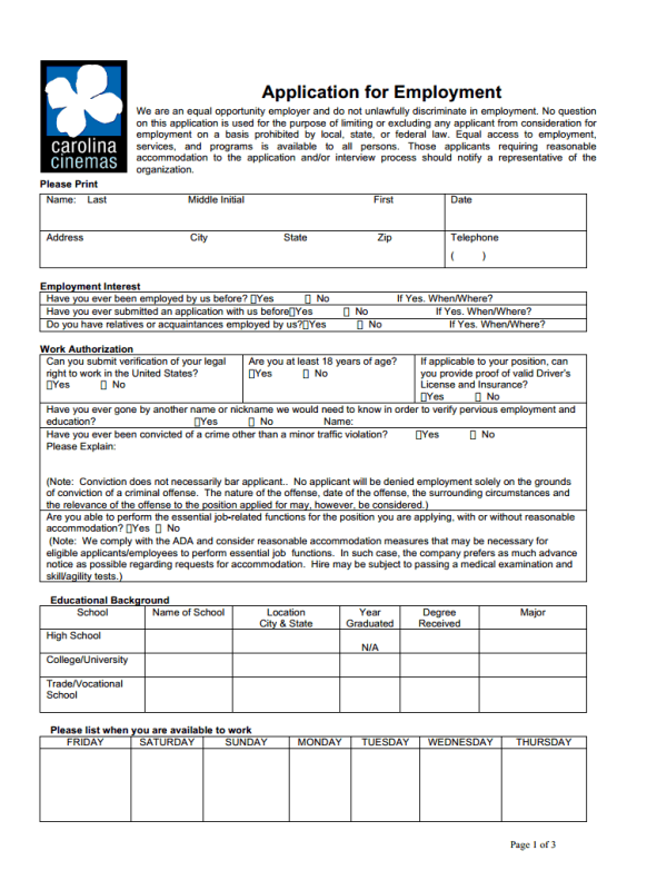 Carolina Cinemas Job Application Form