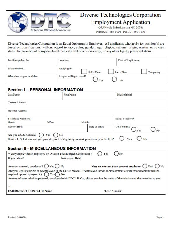 Diverse Technologies Corporation Job Application Form