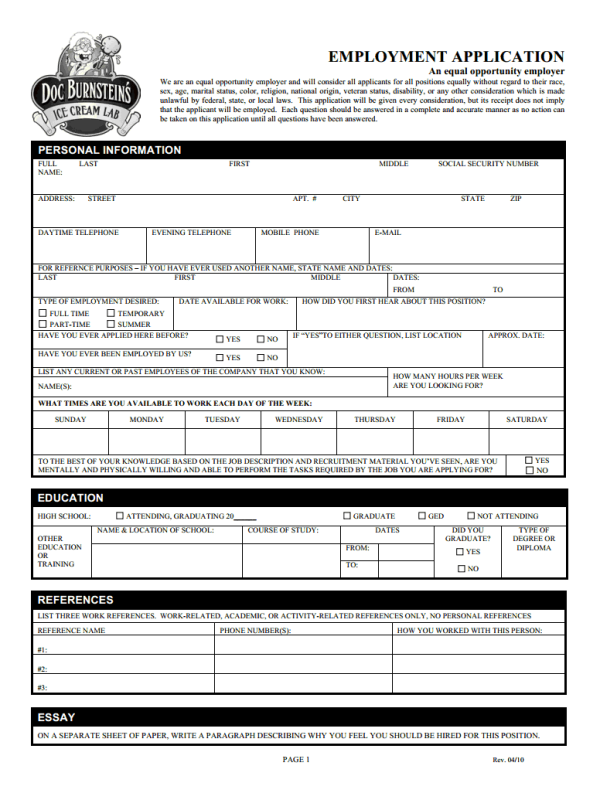 Doc Burnstein S Job Application Form Free Job Application Form