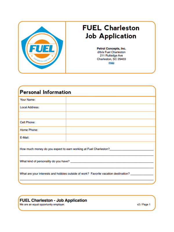 Fuel Charleston Job Application Form
