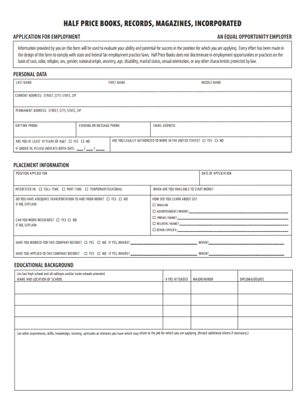 Half Price Books Job Application Form