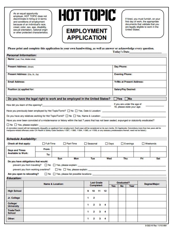 Hot Topic Job Application Form