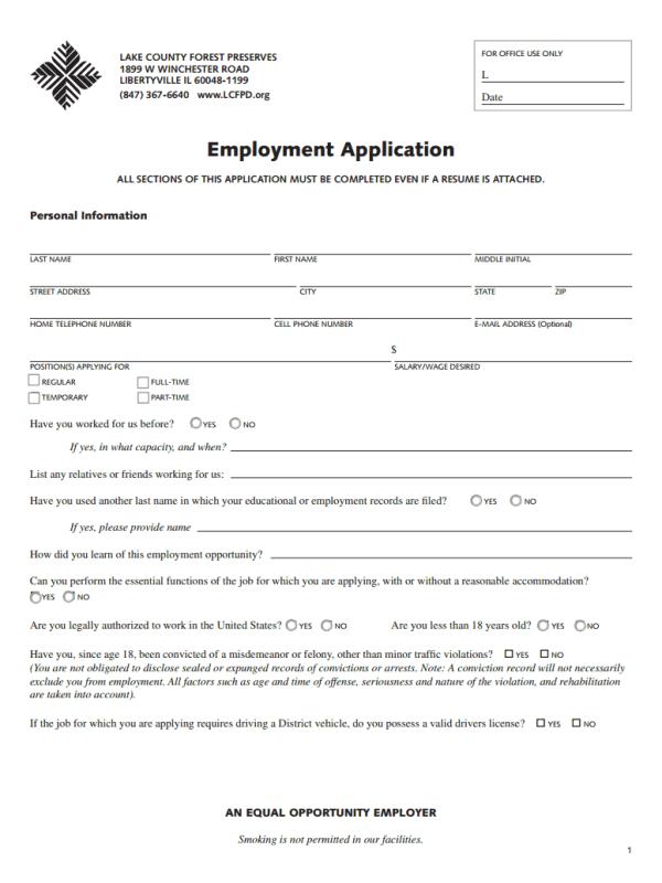 LCFPD Jobs Application Form