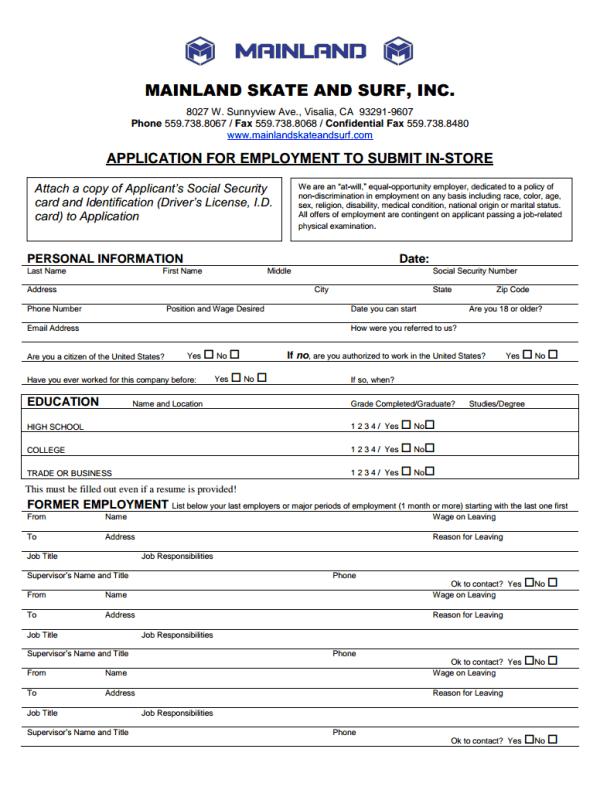 Mainland Skate And Surf Job Application
