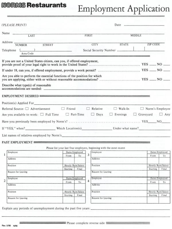 Norms Restaurant Job Application Form - Free Job Application Form
