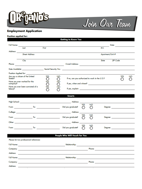 Oregano's Job Application Form