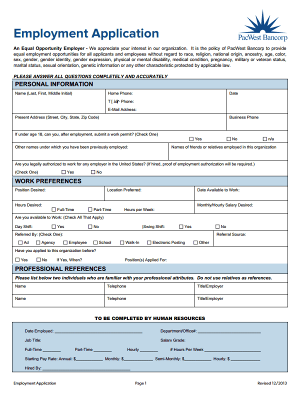 Pacific Western Bank Job Application Form