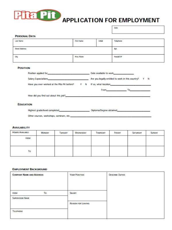 Pita Pit Job Application form