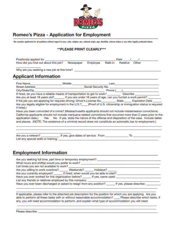 Romeo's Pizza Job Application Form