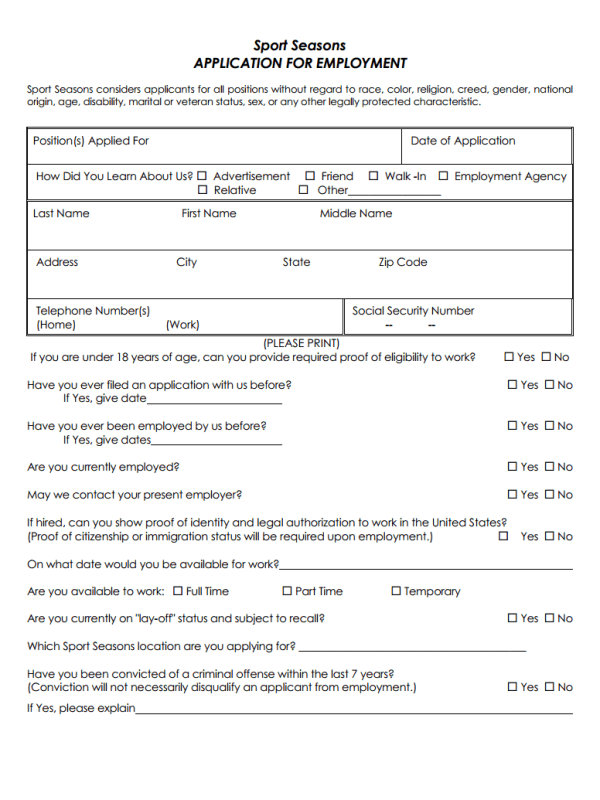 Sport Seasons Job Application Form