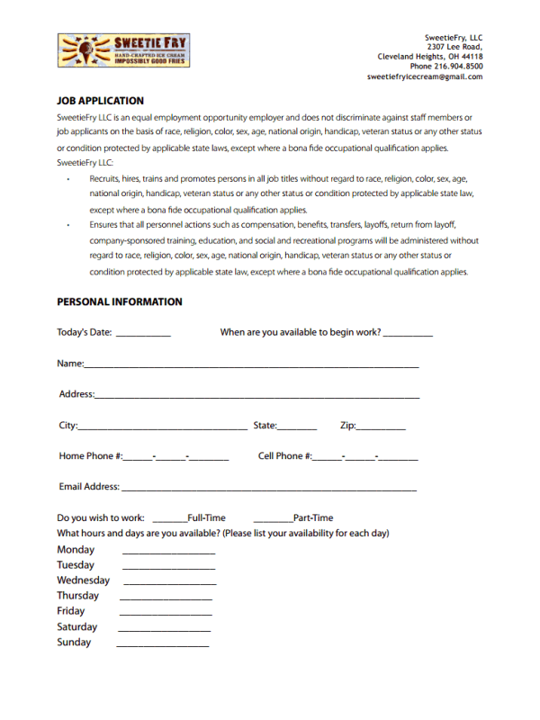 Sweetie Fry Job Application Form