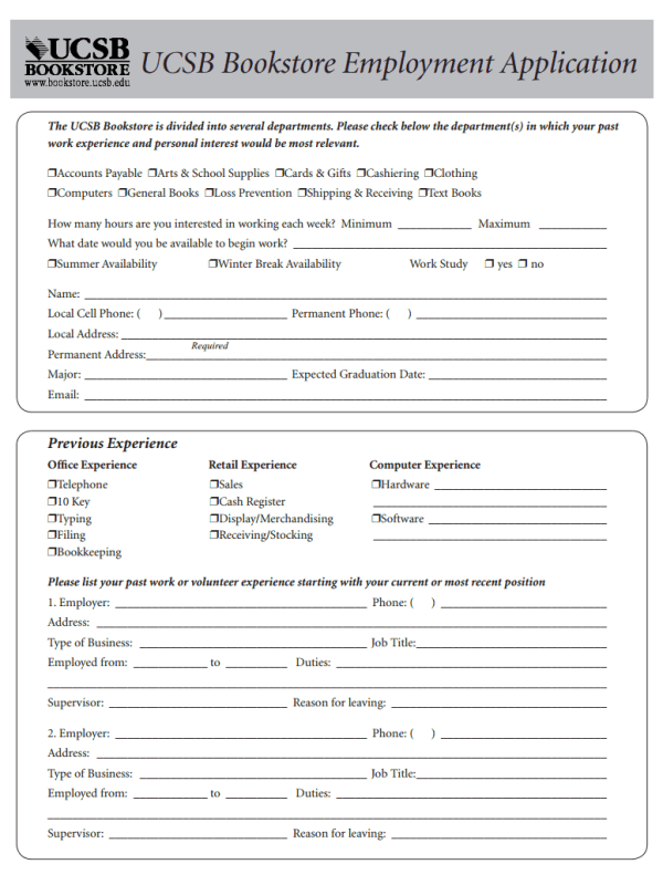 UCSB Bookstore Job Application Form