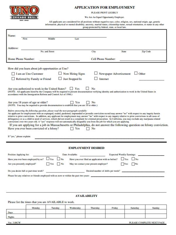 Unos Job Application Form