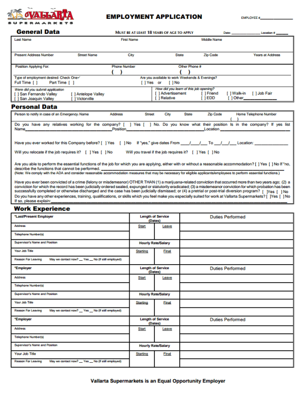 Vallarta Supermarkets Job Application Form