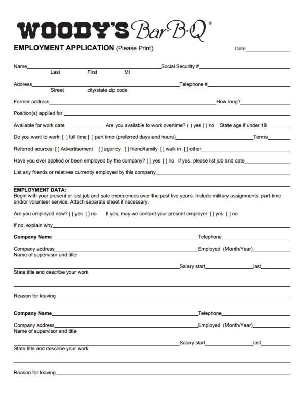 Woody's Job Application Form
