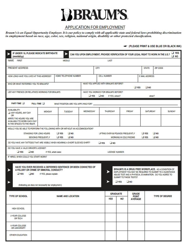 Braums Job Application Form
