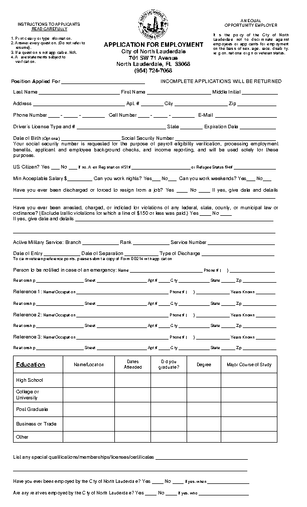 City of North Lauderdale Job Application