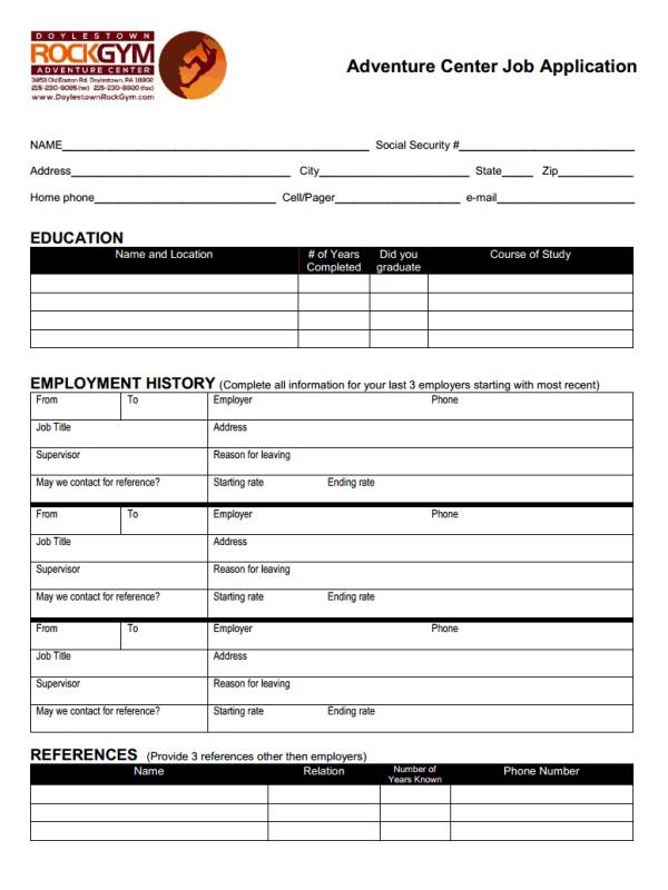 Doylestown Rock Gym Adventure Center Job Application