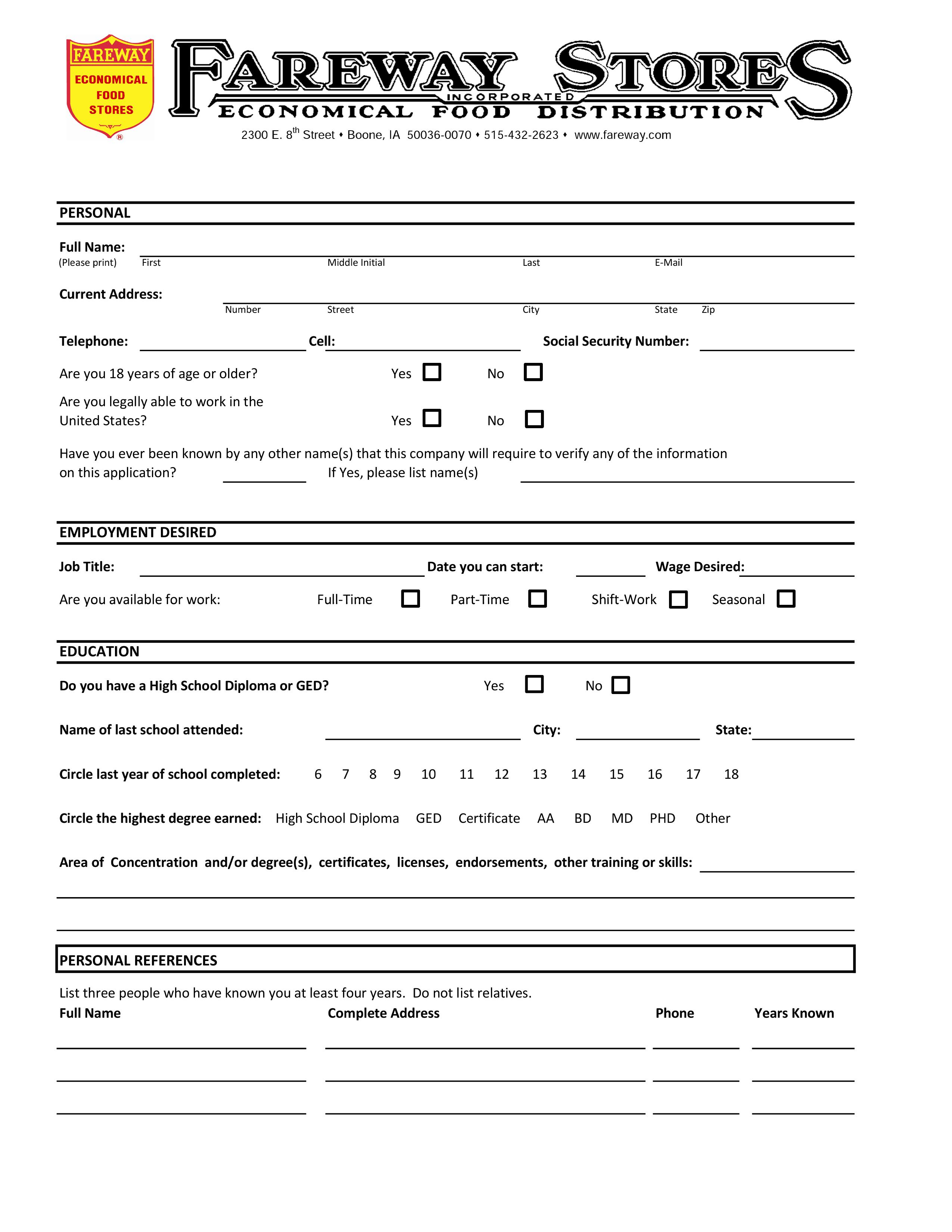 Fareway Job Application Form - Free Job Application Form