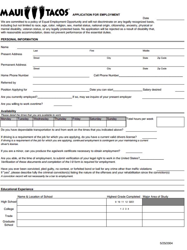 Maui Tacos Job Application Form