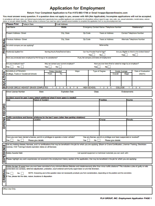 Power Lines Job Application
