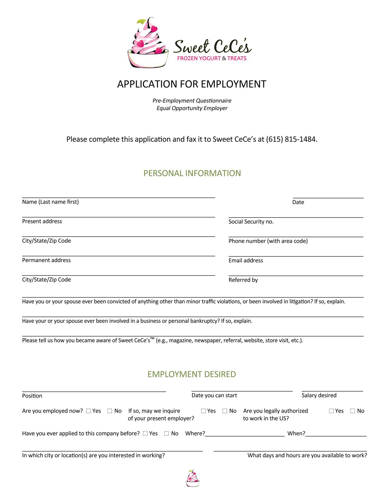 Sweet Cece\'s Job Application Form - Free Job Application Form