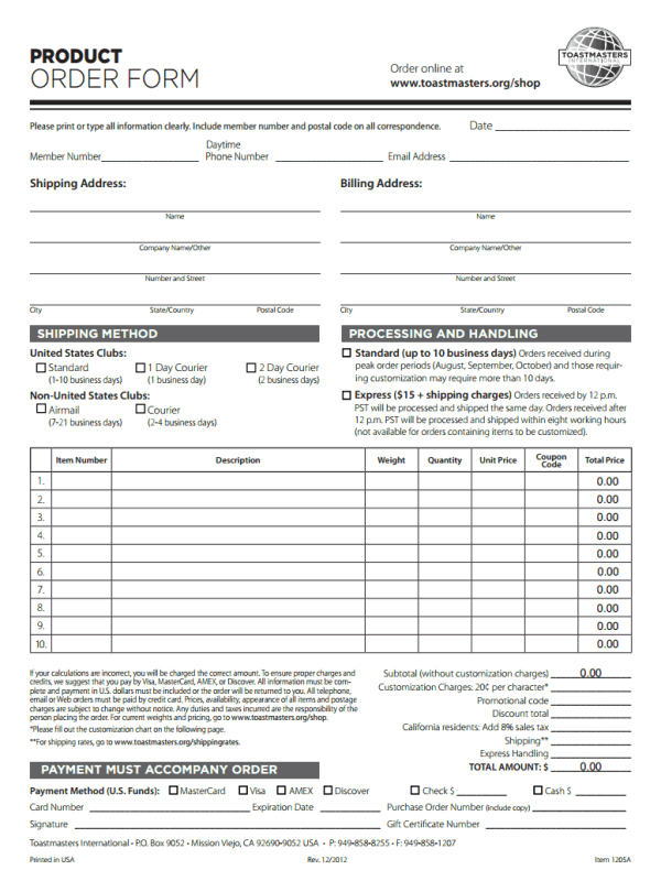 Toastmasters Order Form