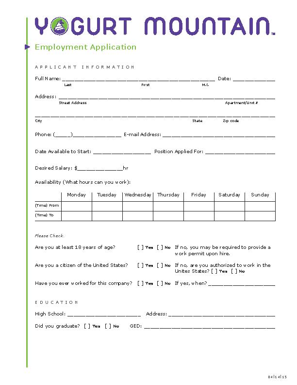 Yogurt Mountain Job Application Form