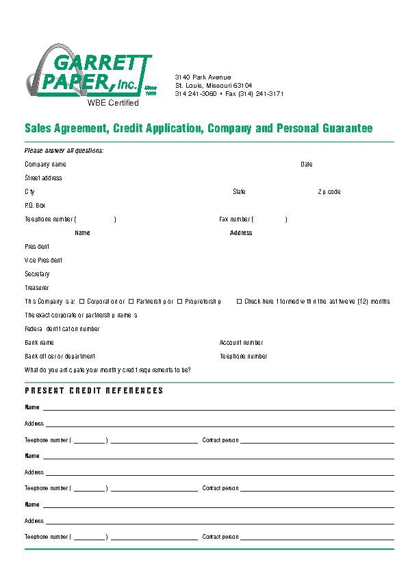 Garrett Paper Job Application Form