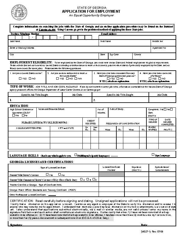 Georgia State Job Application Form