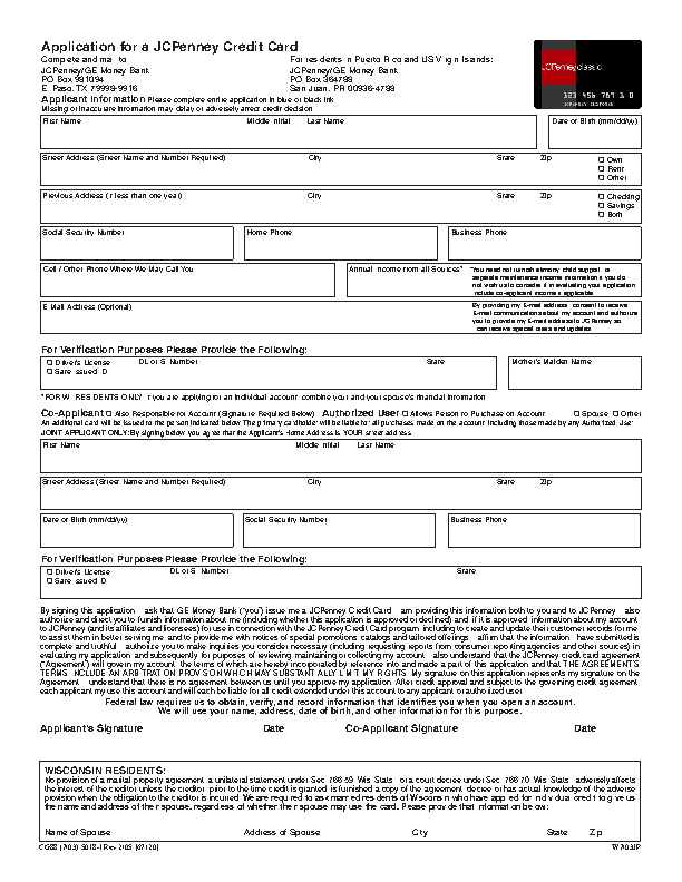 JCPenney Credit Card Application Form
