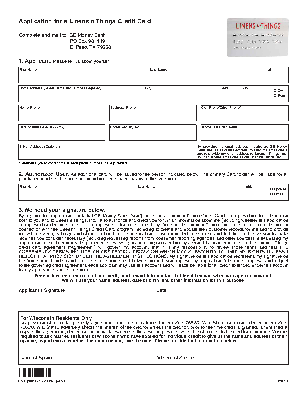 Linens and Things credit card application form