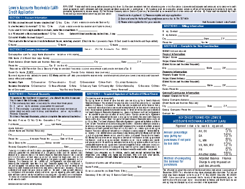 Lowe's Credit Card application form