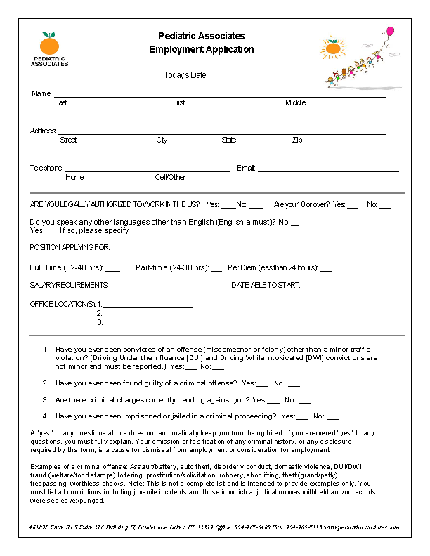 Pediatric Associates Job Application Form