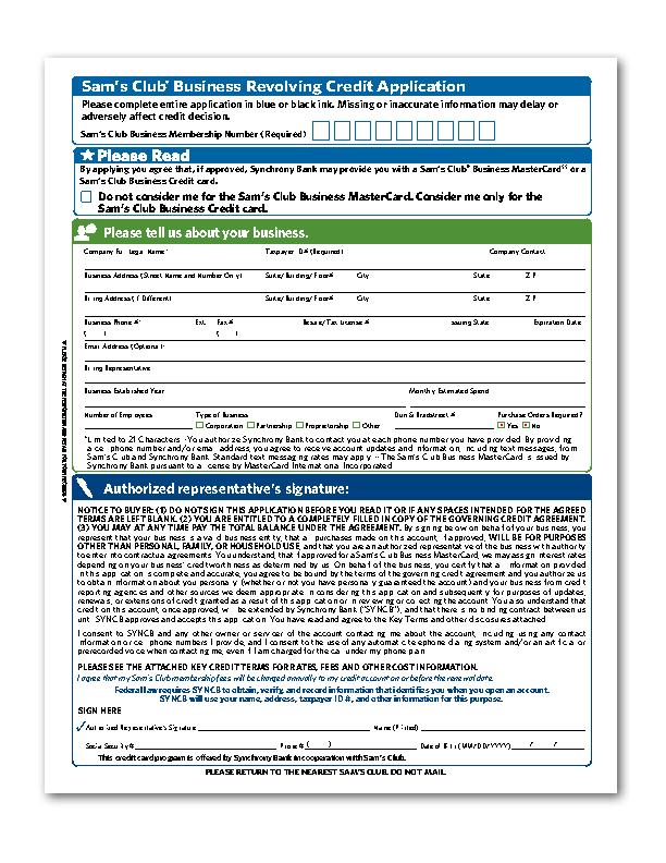 Sam's Club Credit Card Application Form