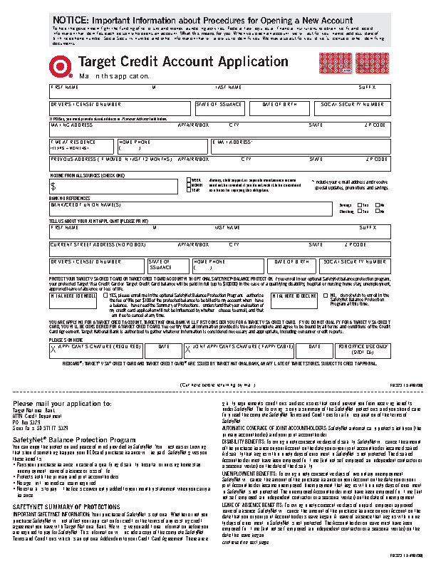 target credit card application form free job application form