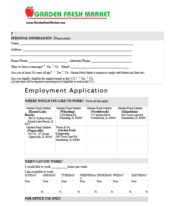 Garden Fresh Market Job Application Form