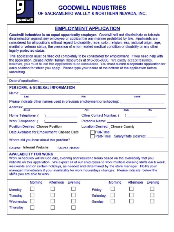 Goodwill job application form
