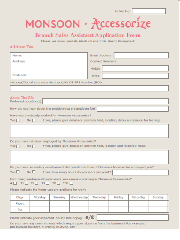 Monsoon Job Application Form