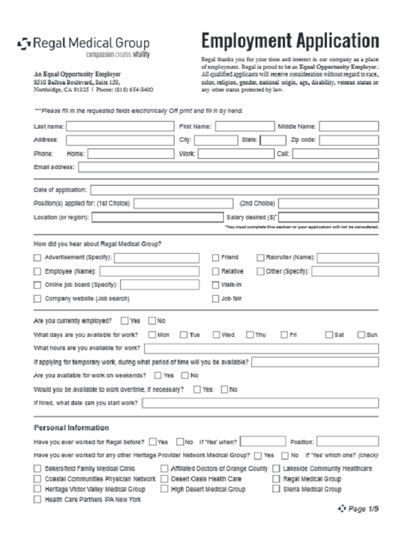 regal medical job application form free job application form